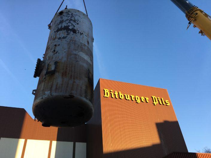Dampfkesseldemontage bei der Bitburger Brauerei